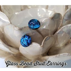 Glass Irridescent Blue Stud Earrings